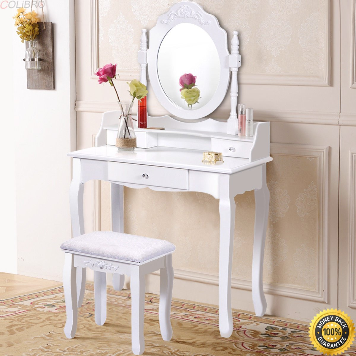 Get Quotations · COLIBROX  White Vanity Wood Makeup Dressing Table Stool  Set Bathroom Mirror + 3 Drawer