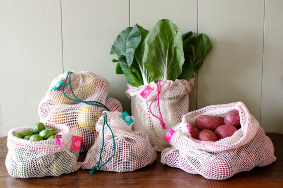 Simple ecology washable and reusable cotton mesh bags for vegetable and fruit