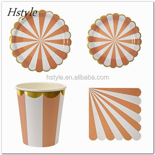Party Decoration Metallic Foil Gold Orange Striped Party Tableware Set Paper Plates Cup Napkin Straw Wedding Party Birth PP227