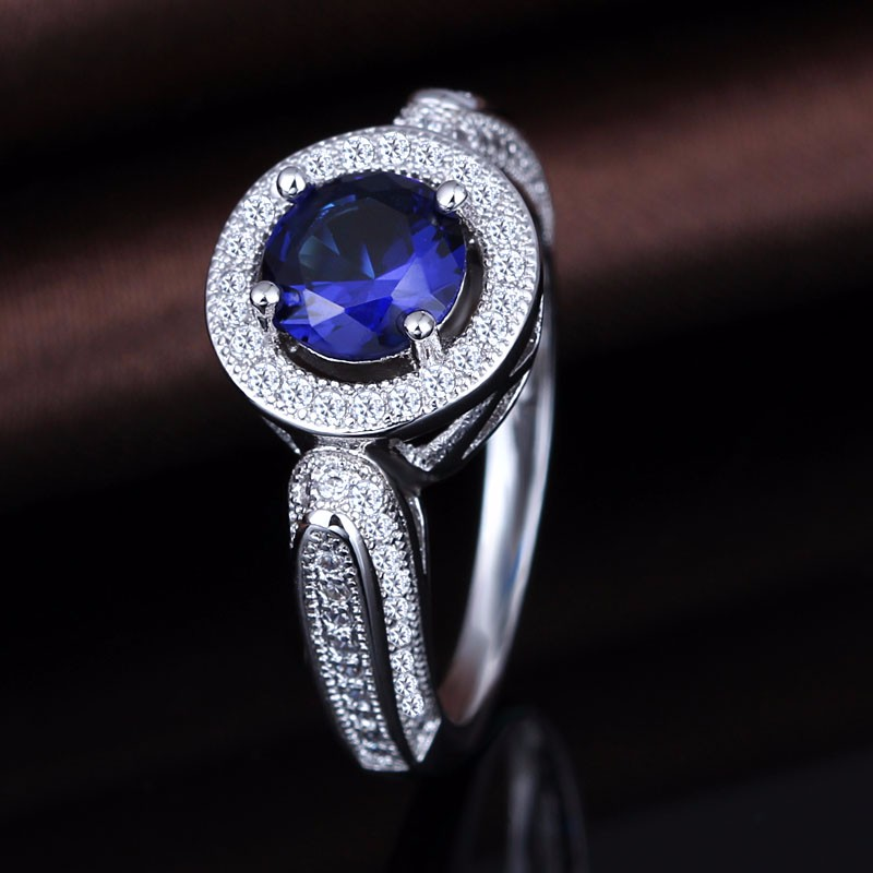 Free Sample S925 Silver Ring With Blue Stone Rings Women