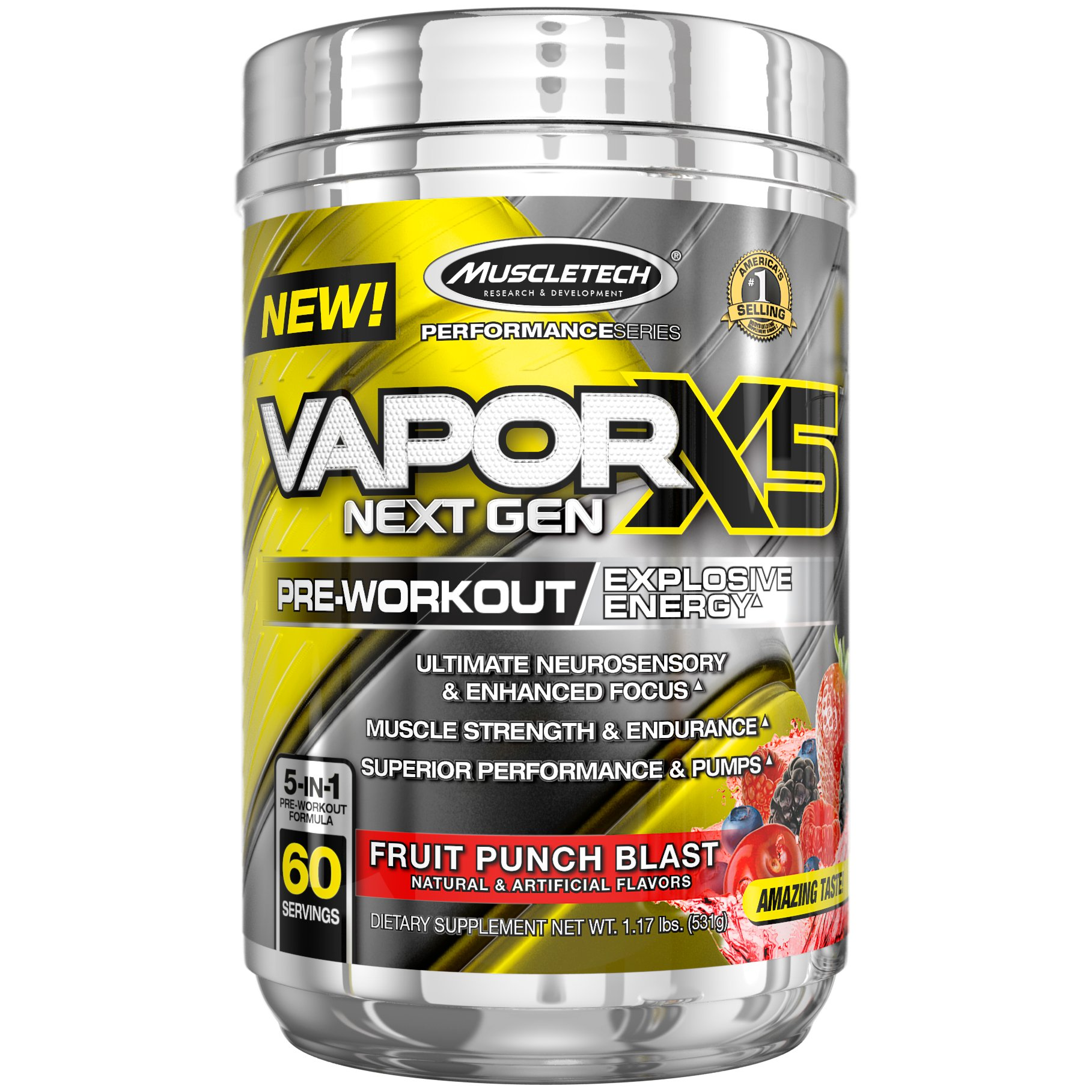 MuscleTech Performance Series Vapor X5 Next Gen Pre-Workout Powder,fruit punch 1.17 lbs.