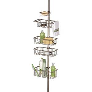 InterDesign Forma Ultra Bathroom Constant Tension Corner Shower Caddy for Shampoo, Conditioner, Soap - Brushed Stainless by InterDesign