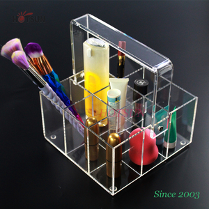 acrylic cosmetic products display box makeup basket perspex