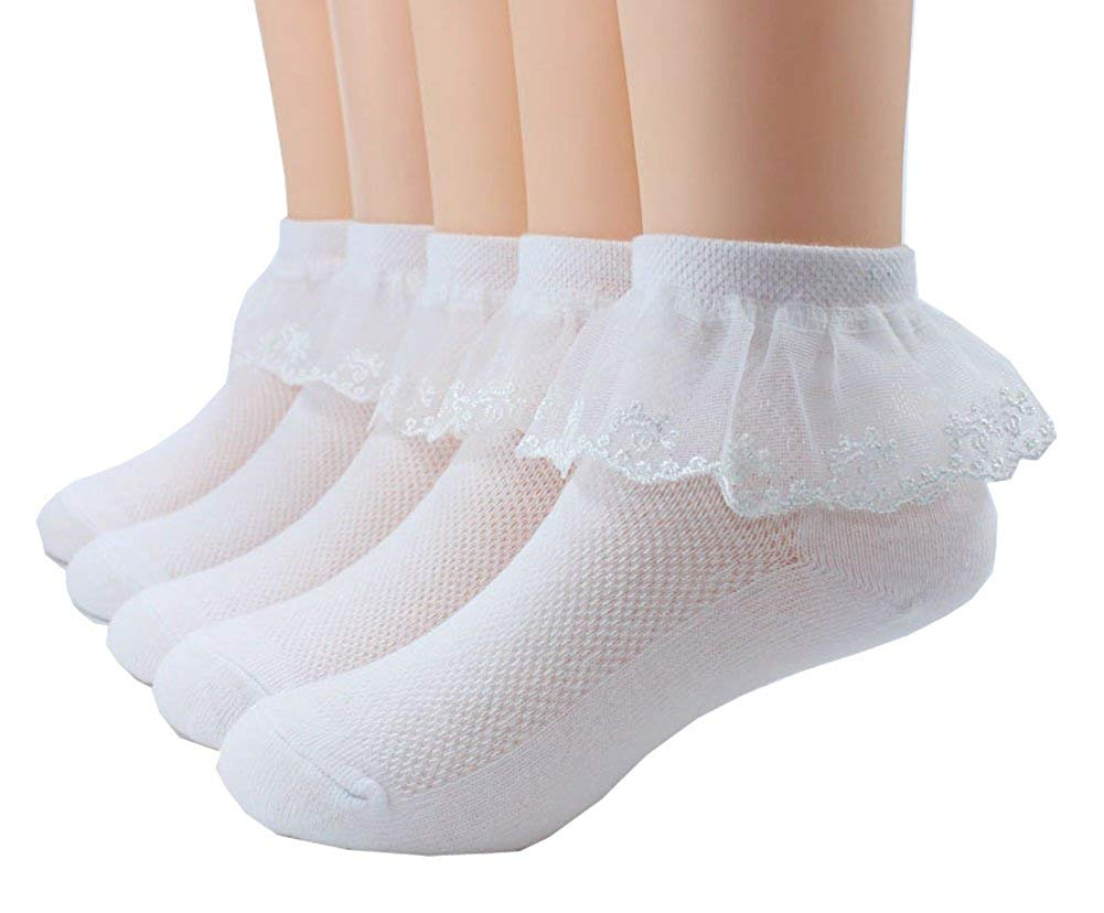 28616672dd8 Get Quotations · 5 Pairs Toddler Baby   Child Girls Lace Princess Socks  Girls Ankle Cotton Socks