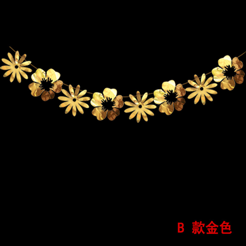 8pcs Large-sized Gold and Silver Hollow Flower and Leaves Wall Decoration Hanging Decorations