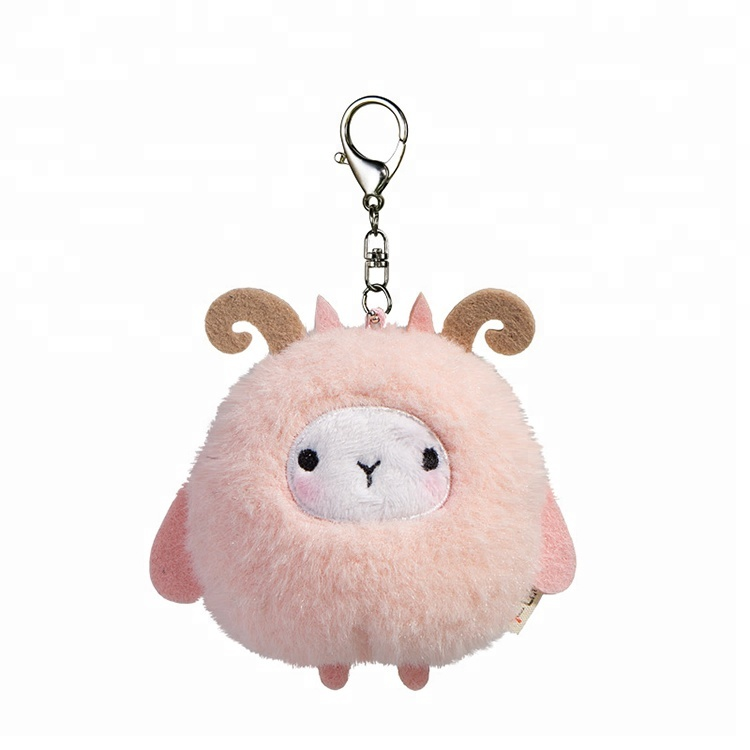 10cm cute round shape pink sheep keychain <strong>plush</strong>