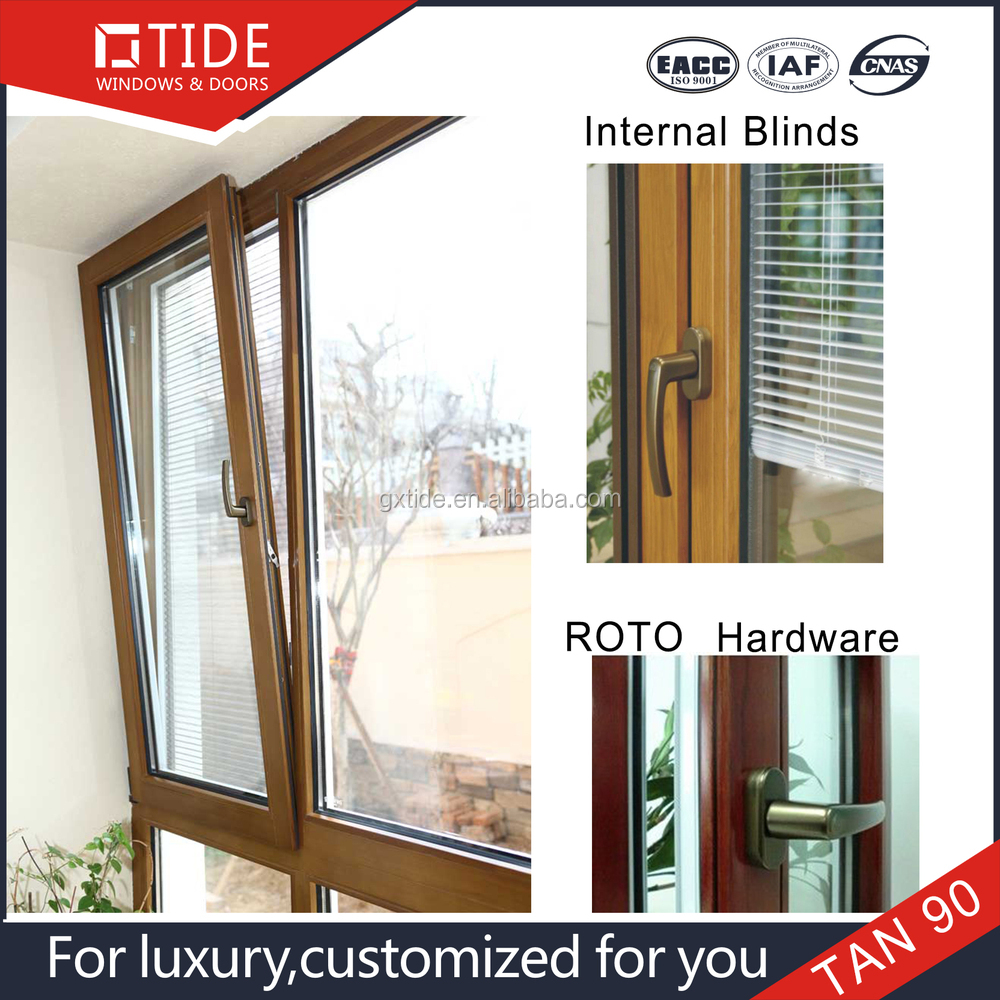 ROTO hardware,with electrical louvers design aluminum wood window