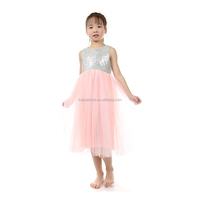 V Back silver Sequin Pink Tulle Flower Girl Dress Junior Bridesmaid Wedding Party Dress