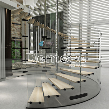 Modern Build Curved Floating Gl Staircase Stair For Home
