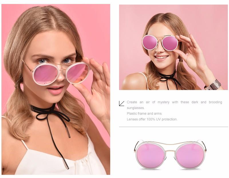 949ff66e5719 Hot Gril Sunglasses Women Round Vintage Sun Glasses Women Female Brand  Design Mirrored Lens UV400 Glasses