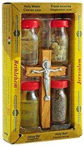 Holy Land 5-in-1 Set. Holy Water, Frankincense, Olive Oil, Holy Soil, Olive Wood Cross
