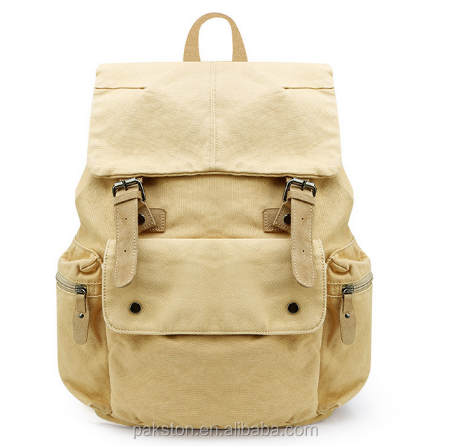 Washed vintage canvas backpacks khaki canvas backpack Cotton canvas backpack manufacturer