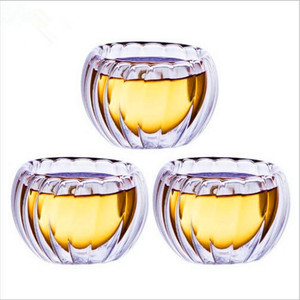 wholesale pumpkin shaped double wall glass green tea cup mugs