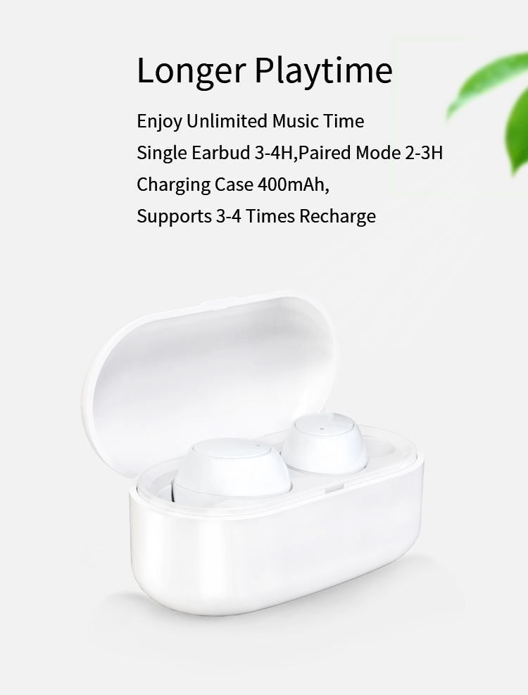True Waterproof Earphones Y1 HD Stereo Sound Easy Pairing Bluetooth Headphones with 550mAh Charging Case for iOS and Android