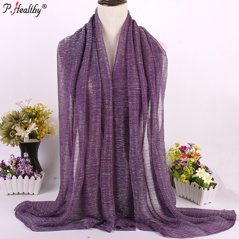 Factory wholesale Glitter crinkle shawls hot arab Hijab Long Shawl Scarf Fashion dubai hijab muslim Scarves