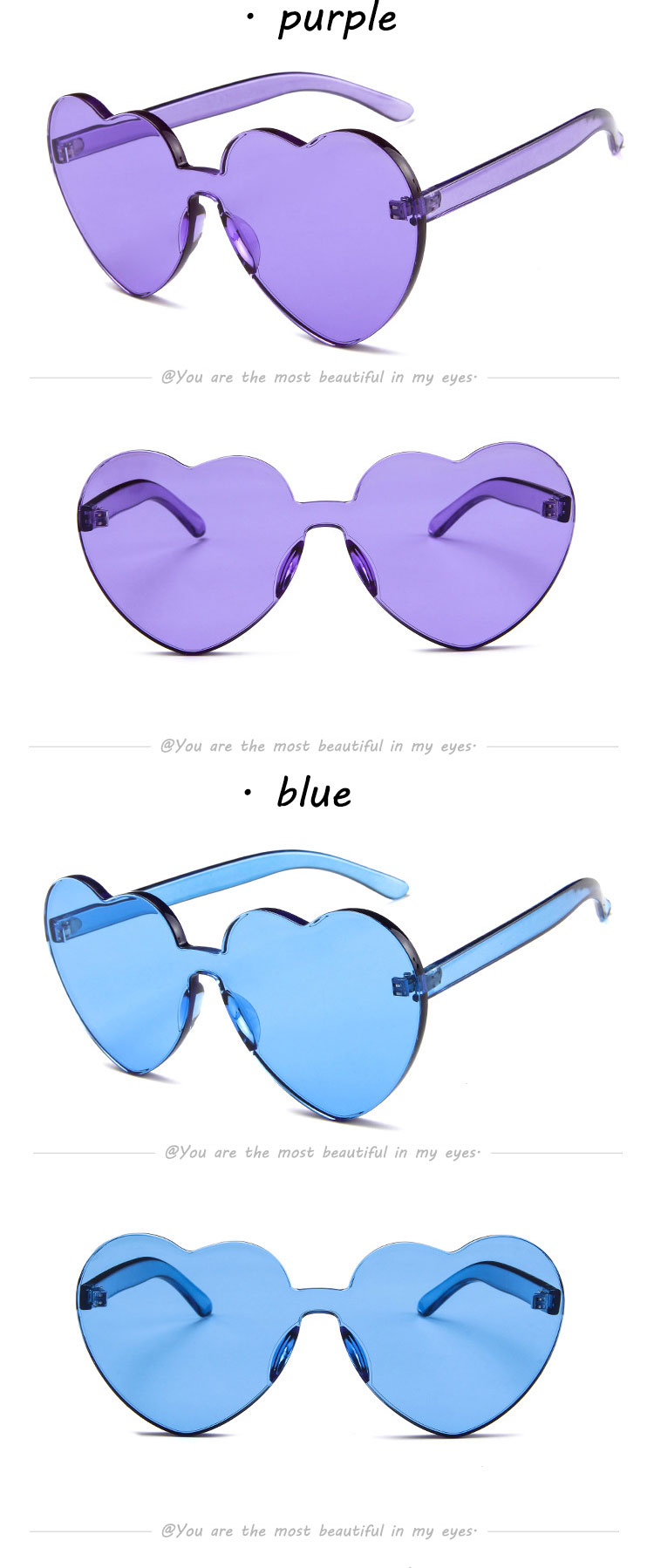 manufacturer new pc material Jelly color heart fashion women sunglasses