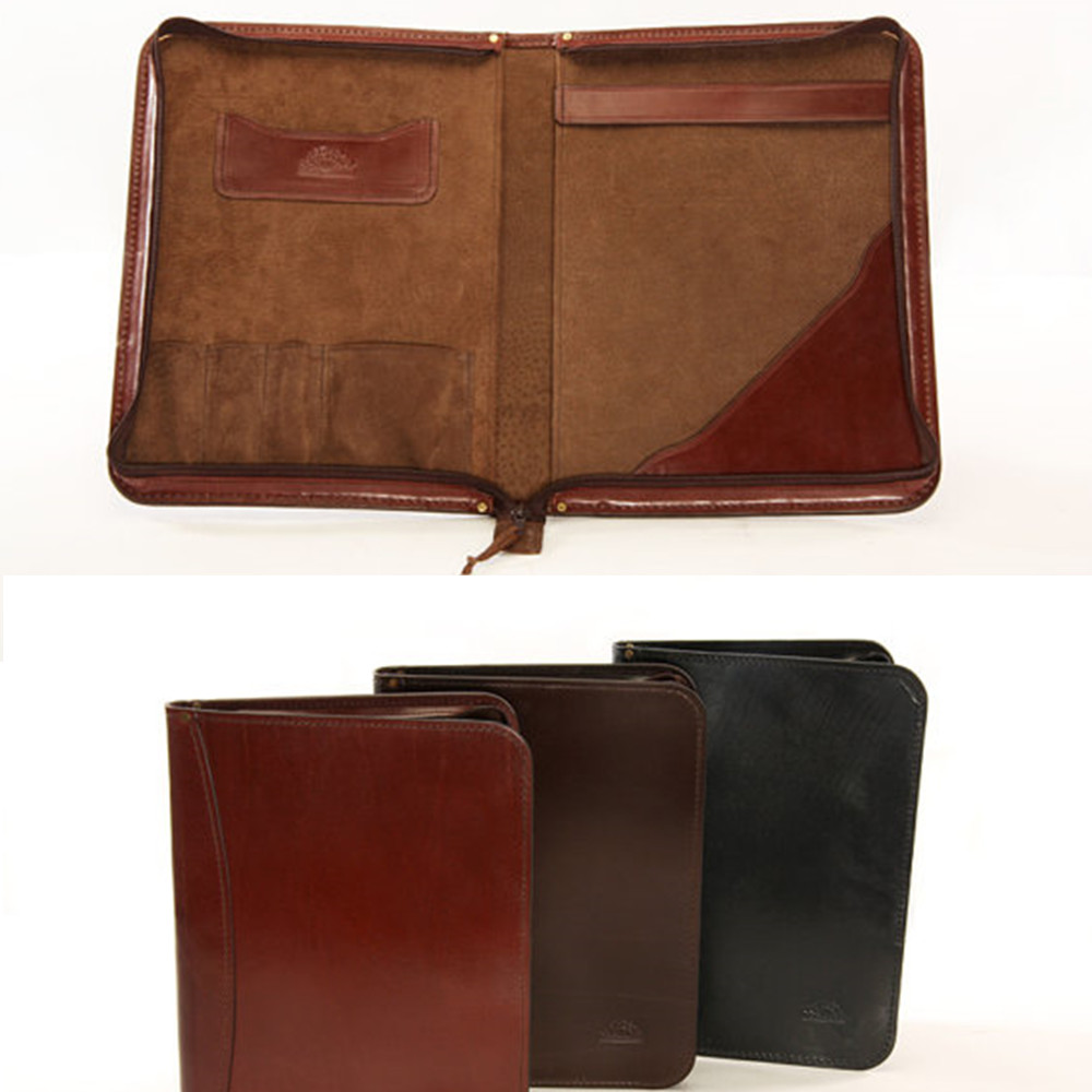 Top quality genuine leather suede lining document holder document bag file folder
