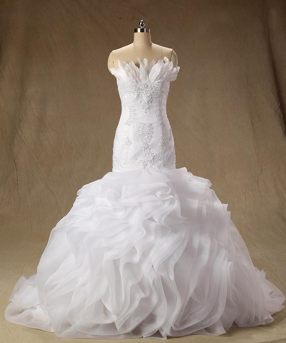 Gorgeous Real Photos Wedding Dresses Organza Ruffles