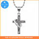 Unisex crystal Stainless Steel Cross and Ring Pendant on Ball Chain Necklace