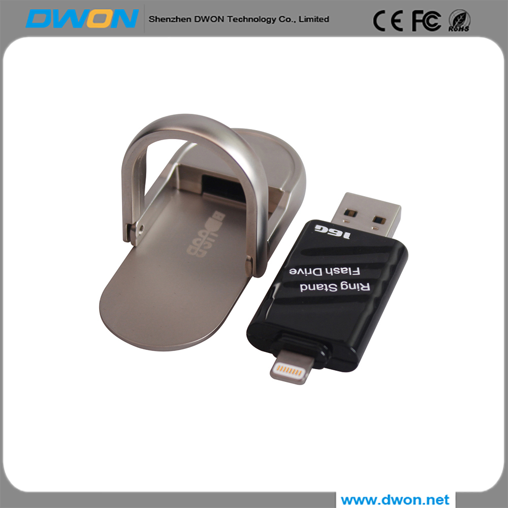 Fashion style Ring stand usb flash drive 8gb 16gb 32gb 64gb usb 2.0 mini flash drive metal holder