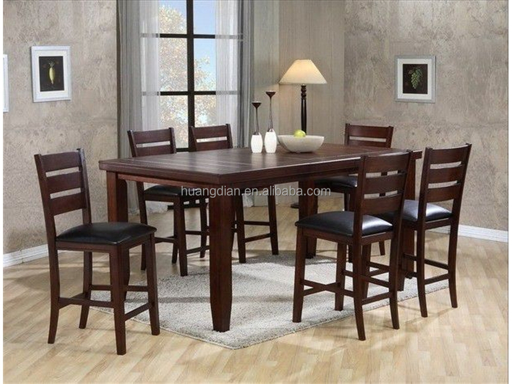 Dark Wood Dining Table Set Brown Color Wooden Floor DT4001