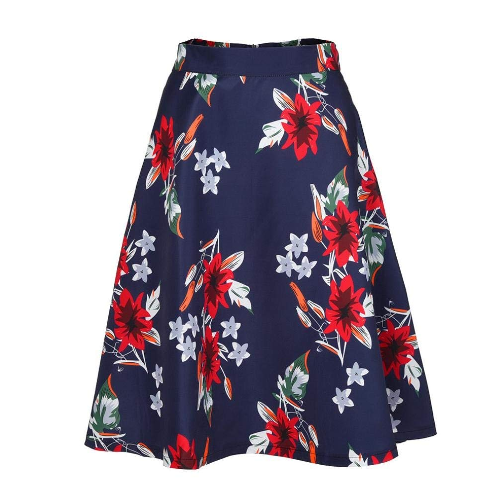 aba167000e Get Quotations · Women Pleated Vintage Skirts Floral Print High Waist  Skater Skirt Mini Skirt