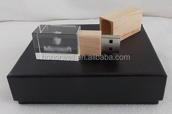 3D logo crystal usb flash drive wholesale customized logo for gift or use