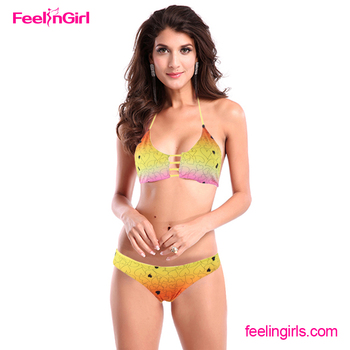 2016 Latest Gold Color Sexy Teenage Girls Swimwear