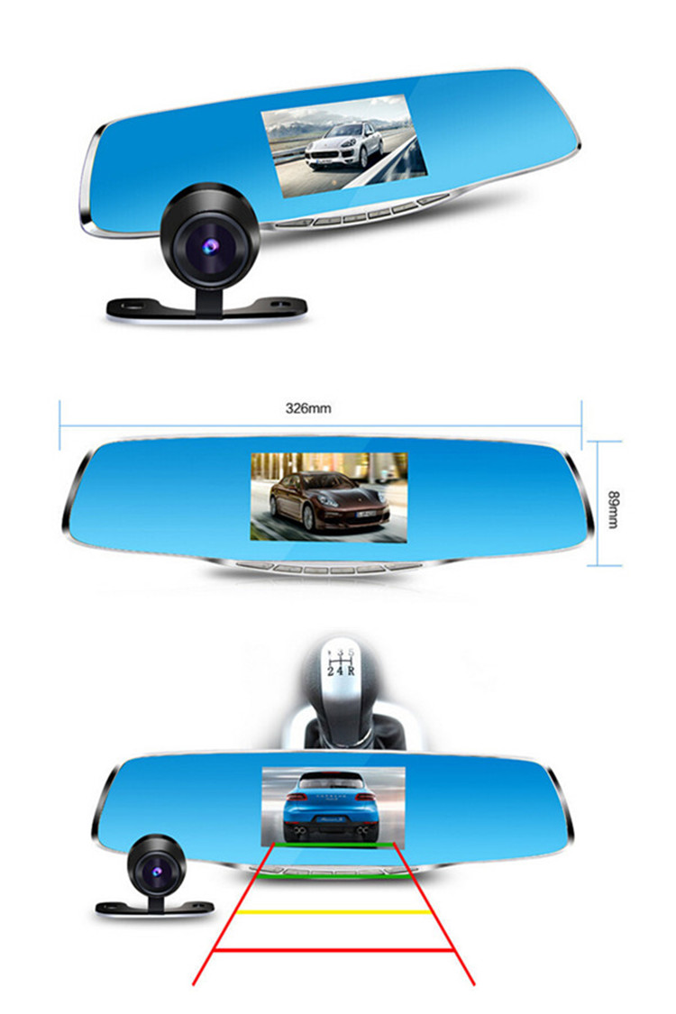 dual lens car camcorder with rearview mirror CE certificate