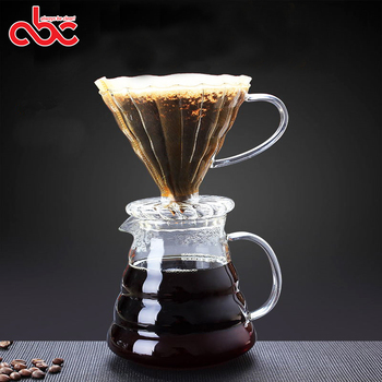 250ml 360ml 600ml 800ml Handmade Borosilicate Glass Pour Over Cold Brew Coffee Maker With Glass Coffee Dripper