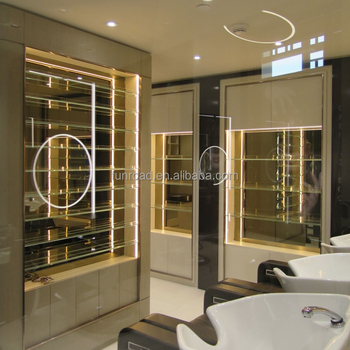 High End Hair Salon Furniture Design Led Lighted Gl Display Wall Unit And Mirror Station