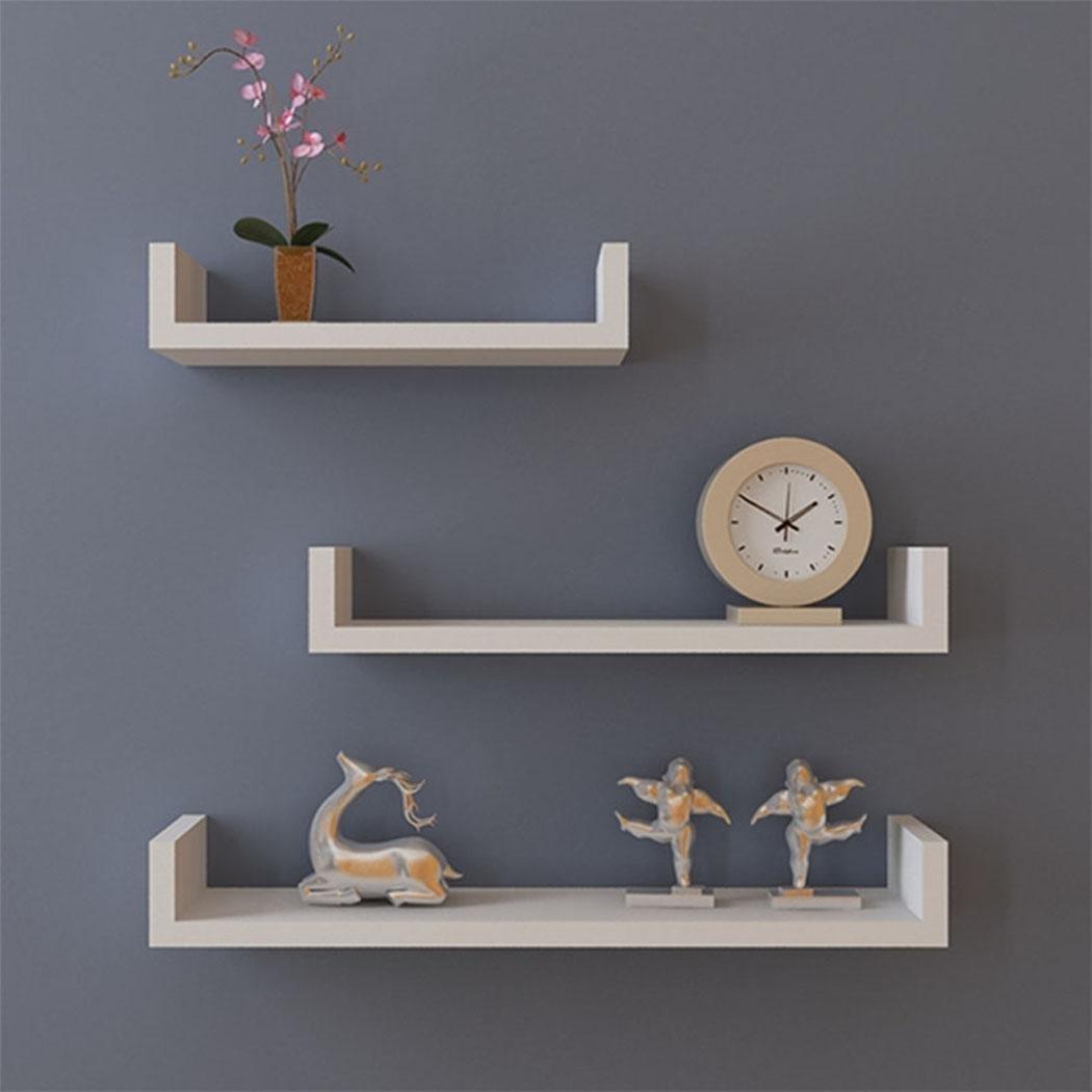 Elever DIY Wall Shelf 3 Set Floating U Shelves, White Hanging Wall Mount Corner Floating Shelves Bracket Bookshelf