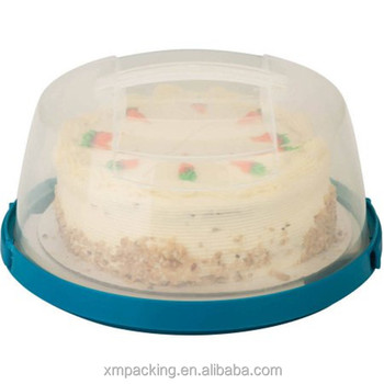 Oem Design Plastic Round Shape Clear Cake Box With Lid Clear