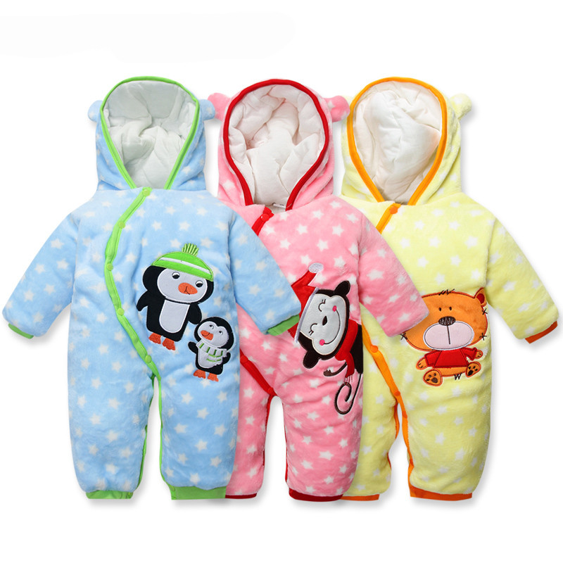 newborn baby clothes winter for boys girls unisex carters rompers hooded thicken fashion star print bebe