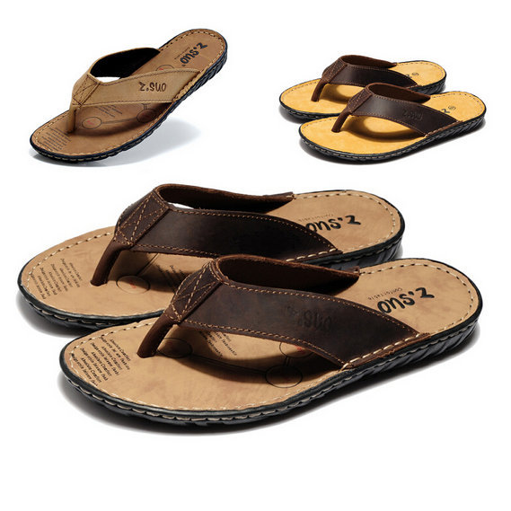 1239416e0af9 Get Quotations · 2015 New Summer Men Genuine Leather Beach Flat Sandal Flip  Flops Cork Casual Flat Slippers Soft