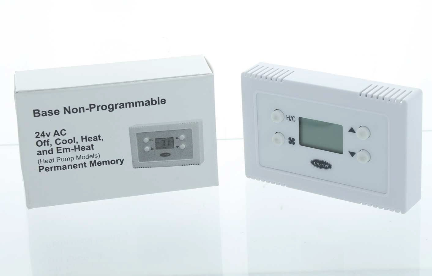 Carrier Base Series 24v AC Off, Cool, Heat, and Em-Heat (Heat Pump Models) Permanent Memory, Non-Programmable Thermostat TB-NAC01