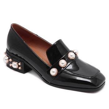 Femmes Femme Cuir Oxford Chaussures Perles Avec Plates En sQthdrCx