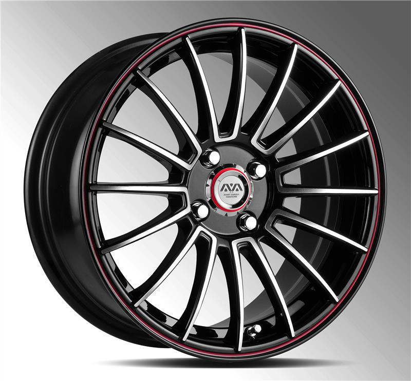 AVA HS-217 17inch inner red stripe rims alloy wheels