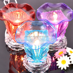 hot sell design baked color glass oil burner crystal incense burner multifunction incense burner lighter C0309