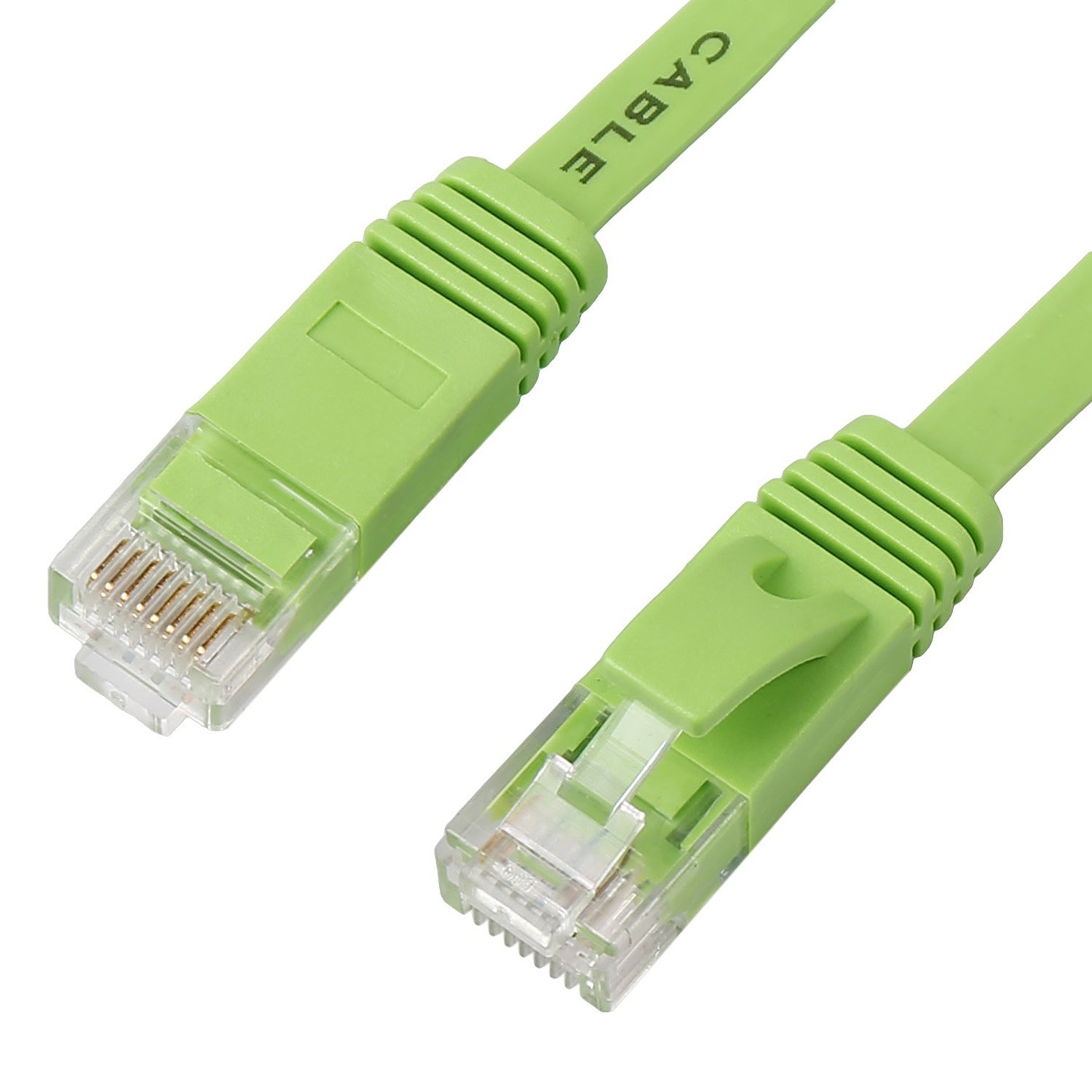Ethernet Cable, Flat Cat6 Network Cable Gigabit Ethernet Patch Cord RJ45 Network Twisted Pair Lan Cable (33Feet/10M, Green)