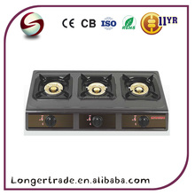 China factory New model 3 burners Gas cooker stove top with stainless panel