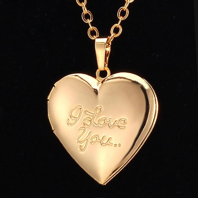 U7 Carved I Love You Valentine Gift Photo Frame Necklace Women Gold ...