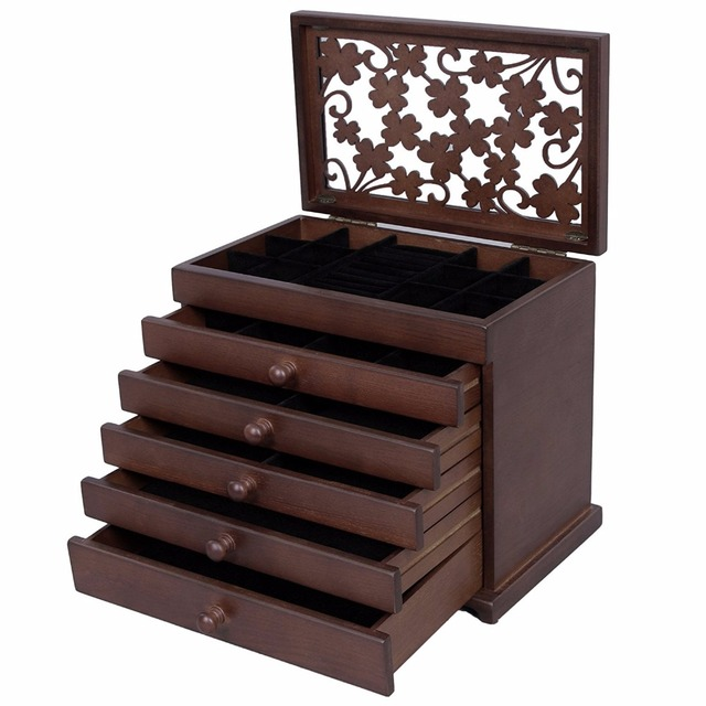 6 Layers Jewelry Storage Box Large Jewelry Organizer Wooden Case With 5  Drawers Dark