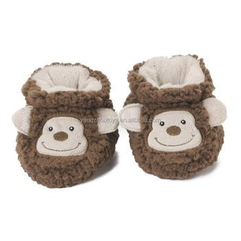 e8d789578f0 Venta caliente mono marrón en forma de animales de peluche de juguete  zapatillas de bebé Niña