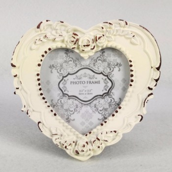 White Heart Shaped Wedding Coach Place Card Frame / Resin Photo ...