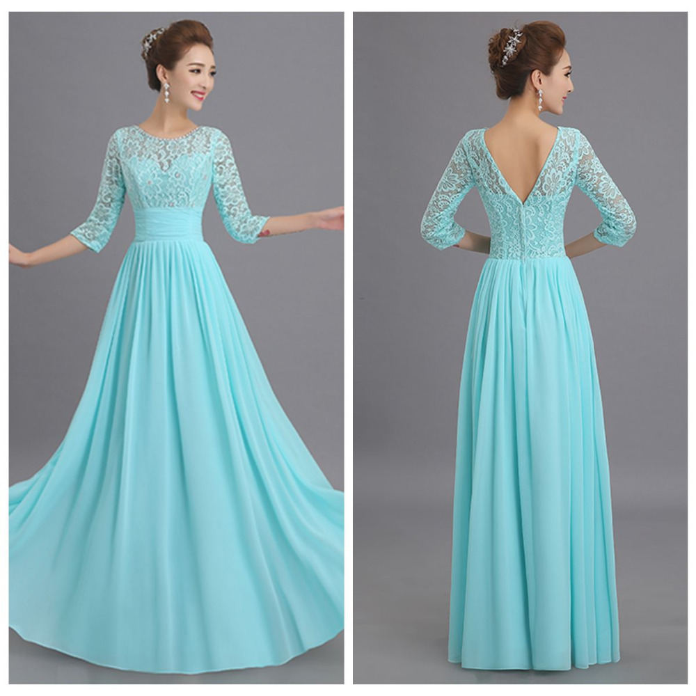 Cheap 3 4 Sleeve Wedding Dresses: Milan To Wholesale 2015 New Elegant Lace Aqua Blue 3 4