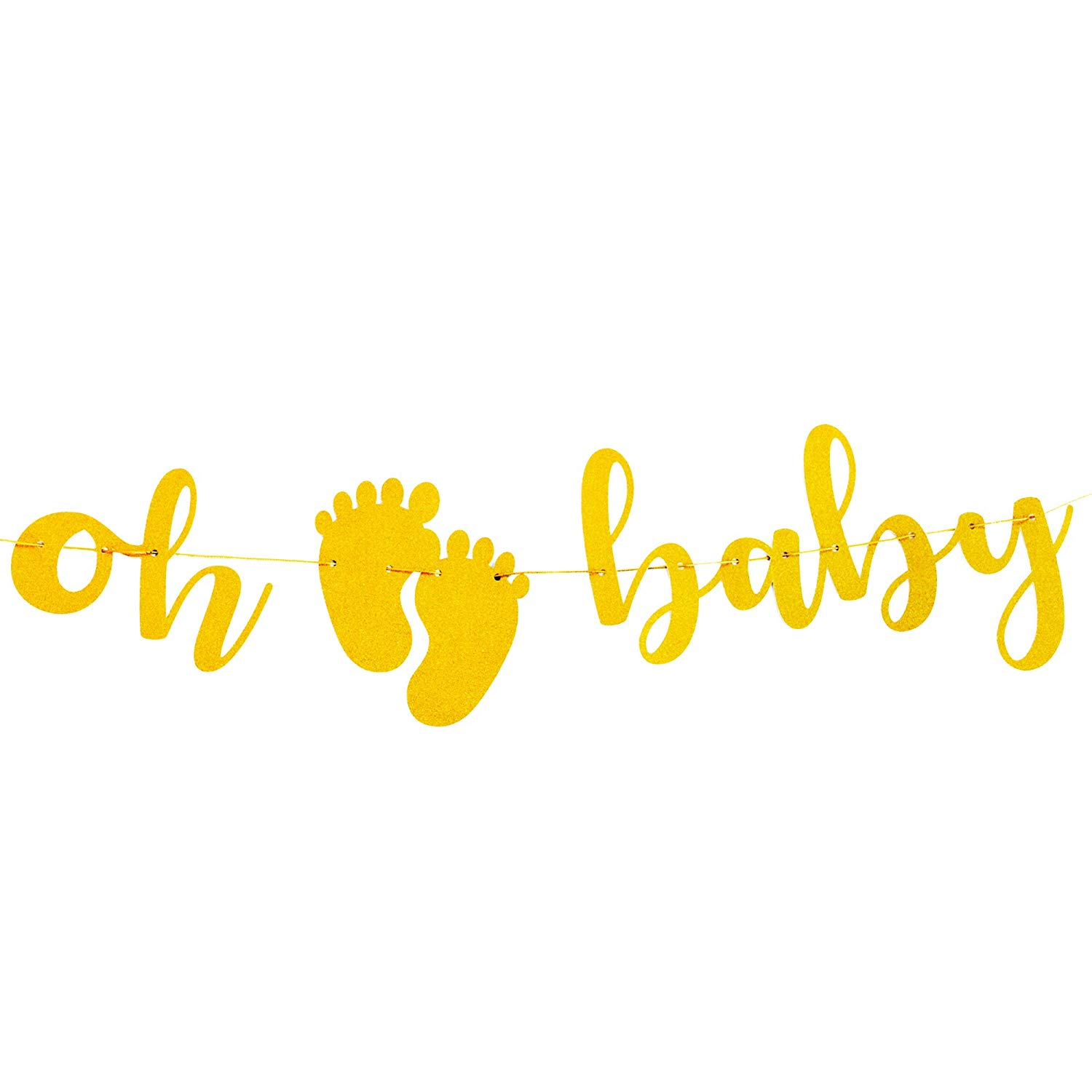Oh Baby Gold Glitter Banner, Baby Girl/Boy Shower Décor StrungBanner | Baby Shower Party Decorations Backdrop | Gender Reveal Party Decor with Ribbon Kit Set