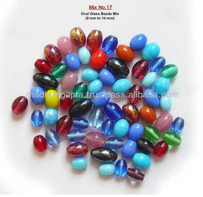 Oval glass beads mix size 8mm to 14mm