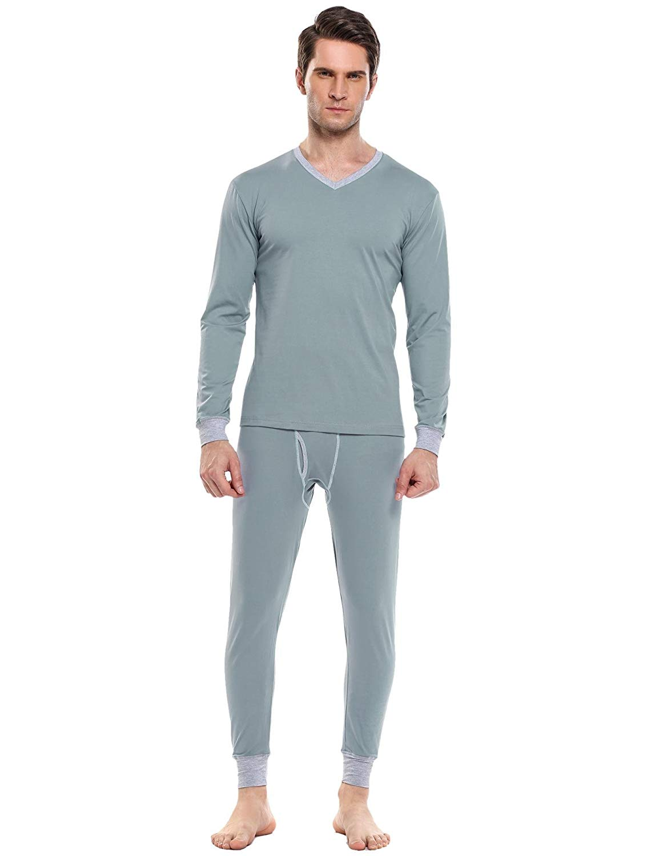fc1cad2b140d Get Quotations · Goldenfox Men's Long Johns Thermal Underwear Cotton Base  Layer Warm Pajamas Set Nighty S-XXL