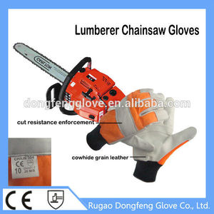 China Cowhide Grain Leather Cut & Abrasion Resistant Woodcutter Work Gloves With CE